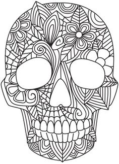Blooming skull urban threads: unique and awesome embroidery designs mandala Skull Coloring Pages, Coloring Pages To Print, Coloring Book Pages, Coloring Sheets, Paper Embroidery, Embroidery Patterns, Machine Embroidery, Zentangle, Free Adult Coloring
