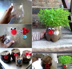 Planters from plastic bottles.- Planters from plastic bottles. Planters from plastic bottles. Kids Crafts, Diy Home Crafts, Projects For Kids, Craft Projects, Arts And Crafts, Craft Ideas, Diy Ideas, Ideas Para, Project Ideas