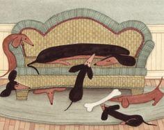Negro del dachshund pelo corto con Ángel / por watercolorqueen