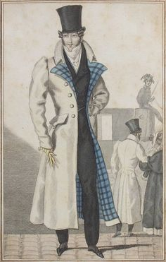 """Untitled. Regency beau with top hat & long coat""."