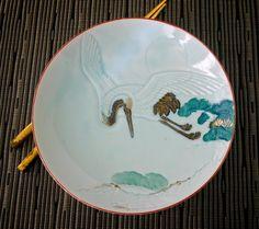 Vintage Japan Plate Full Moon, Celadon Flying Crane and Pine Tree Motif