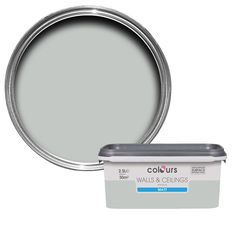 Colours Premium Light Rain Matt Emulsion Paint Tester Pot - B&Q for all your home and garden supplies and advice on all the latest DIY trends Pale Grey Paint, Grey Paint Colors, Neutral Paint, Ceiling Paint Colors, Wall Colors, Grey Bathroom Paint, Rain Painting, Washable Paint, Living Room Grey