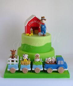 Farm cake perfect for a barnyard birthday party of farmhouse animals baby shower! - Cake by Karla (Sweet K) Barnyard Cake, Farm Cake, 2 Birthday Cake, Farm Birthday, Cake Decorating With Fondant, Cake Decorating Techniques, Cupcakes, Cupcake Cakes, Vet Cake