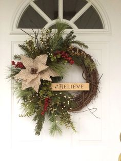 Christmas Wreaths-Holiday Wreath-Rusty Sleigh Bell Wreath-Wooden Sign-Believe Wreath-Rustic Christmas Decor-Wreath for Door-Designer Wreath Diy Christmas Decorations For Home, Christmas Wreaths For Front Door, Holiday Wreaths, Advent Wreaths, Winter Wreaths, Holiday Decorating, Door Wreaths, Decorating Tips, Rustic Christmas