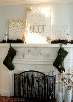 holiday canvas and mantle decor