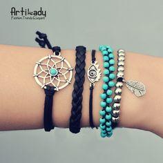 Artilady pu leather bracelets set vintage turquoise beads dreamcatcher bracelet bangles for women jewelry