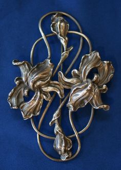 Art Nouveau Iris Brooch Pin | eBay
