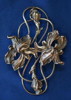 Art Nouveau Iris Brooch Pin | eBay