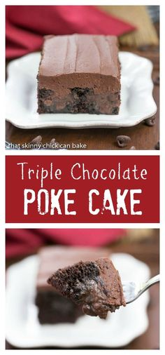 Triple Chocolate Poke Cake   Moist chocolate cake with fudgy filling and chocolate buttercream! @lizzydo