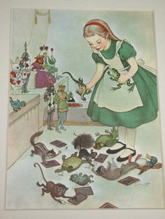 Giant Alice 1955 Alice In Wonderland Lewis Carroll Marjorie Lewis Carroll, Alice In Wonderland Vintage, Alice In Wonderland Illustrations, Wonderland Party, Pin Up, Adventures In Wonderland, Illustration Sketches, Vintage Illustrations, Vintage Children