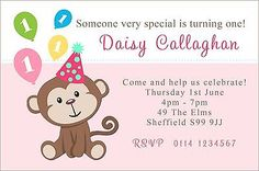 Personalised Birthday Party Invitations Invites 1st First 2nd ANY AGE etc F0047