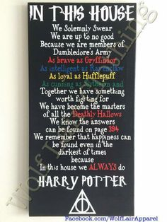 In This House We Do Harry Potter Canvas, Hand made by Wolf Lair Clothing. order at…
