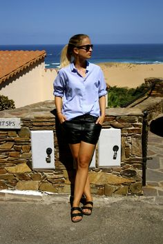 oversized button down shirt, leather shorts and Birks