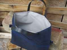 Waxed Canvas Fold Over Tote in Navy Blue Fold Over by Zakken, $85.00