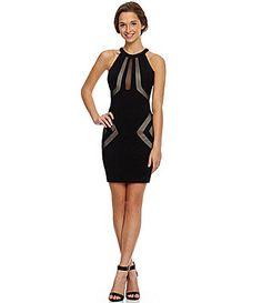 Honey and Rosie HighNeckline CutOut Mesh Sheath Dress #Dillards