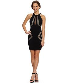 Honey and Rosie HighNeckline CutOut Mesh Sheath Dress #Dillards