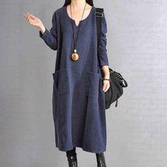 Women Linen Dress Loose Dress Long Sleeve Dress Large Size Dress Sprin – Buykud