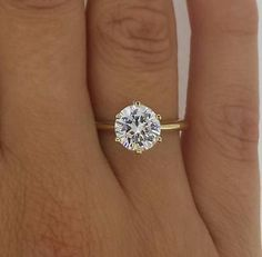 2 Round Cut Diamond Solitaire Engagement Ring Enhanced VS1/F 14K Yellow Gold