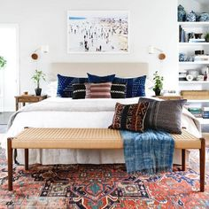 patterned rug and indigo pillows for the bedroom The Best of home decor ideas in 2017.