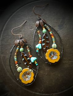 Flowers, Wire Wrapped, Hoops, Blossom Series, Sunflowers, Fall, Leaves, Vine, Artisan Made, Glass, Organic, Rustic, Unique, Beaded Earrings by YuccaBloom on Etsy