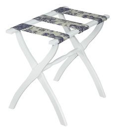 Gate House Furniture's Luggage Rack with Toile Straps, available in several finishes, is sturdy and fits in well in any situation. Use it for guests, for yourself, or even as a serving tray.