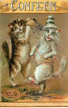 Set Title: HUMOROUS CATS  Set Comment: CHROMOGRAPHED IN SAXONY  First Use: April 18,1908  Sold As?  Where Sold: Canada, Great Britain  Card Information  Card Title:CONFETTI  Number: 6878  Artist: M. BOULANGER  Orientation: Vertical