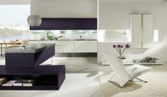 Love these contrasting cupboard colours in this modern Hacker kitchen