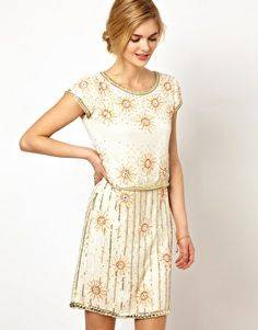 Frock and Frill Shift Dress with All Over Embellishment