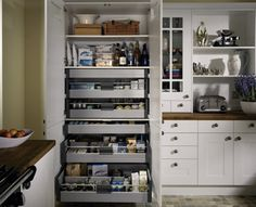 larder pantry can be transformed with the internal drawers. dont have the space? re create the effect using a larder unit Larder Unit, Kitchen Larder, Ikea Kitchen, Kitchen Cupboards, Kitchen Decor, Kitchen Units, Kitchen Ideas, Pantry Cupboard, Corner Pantry
