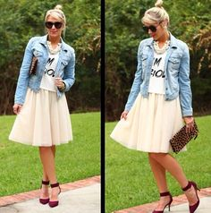 Tulle skirt cream leopard clutch jean jacket denim jacket graphic tee heels pumps sunglasses messy bun high bun