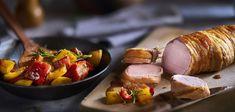 Schweinefilet im Speckmantel auf Paprikagemüse