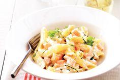 Penne met asperges en zalm - Recept - Allerhande