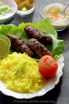 Pan Grilled Kabab (beef) with yellow rice, dip and sauce. A welcome change from the beef burger and everything ready under I hour. #FoodNetwork #SummerSoiree #Kabab
