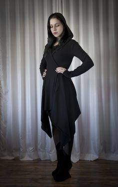 Hooded Coat with Draped Sides by Nuit