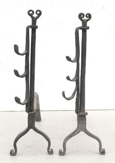 """18thC American forged iron andirons w heart motif finials & rare revolving skewer holders H 19"""""""