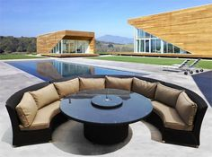 """Elegant round dining set with """"Lazy Susan"""" and Umbrella Hole. Sofas double as sectional seating for added versatility! Many Color Choices Available! Dining Sofa, Outdoor Dining Furniture, Pool Porch, Patio, Outdoor Spaces, Outdoor Living, Outdoor Decor, Round Dining Set, Sofa Set"""