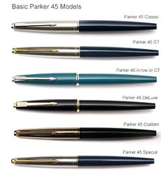 Parker 45 Fountain Pen Penography History Information Age Harlequin TX Coronet Flighter Insignia Water feature Parker 45, Parker Pens, Dog Pen, Luxury Pens, Fountain Pen Nibs, Pencil Design, Pen Collection, Best Pens, Mechanical Pencils