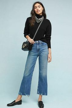 Cropped Jeans Outfit, Jeans Outfit Winter, Cropped Wide Leg Jeans, Crop Jeans, Wide Leg Pants, Look Fashion, Autumn Fashion, Fashion Outfits, Womens Fashion