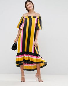 Buy Multicolored Asos Midi dress for woman at best price. Compare Dresses prices from online stores like Asos - Wossel Global Latest Fashion Clothes, Retro Fashion, Fashion Online, Mom Fashion, Asos, Robes Midi, Summer Stripes, Tiered Dress, Weekend Wear