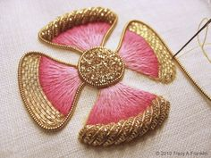 "stitchingsanity: "" (via Tracy A Franklin - specialist embroiderer: Working needle) "" Zardosi Embroidery, Pearl Embroidery, Tambour Embroidery, Embroidery Stitches, Tambour Beading, Hand Embroidery Designs, Embroidery Patterns, Lesage, Gold Work"
