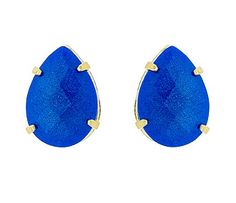 Brinco folheado a ouro c/ pedra cabochão acrílica em forma de gota na cor azul