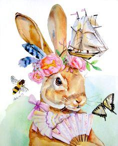 Rabbit and Peony Illustration Art  by asho