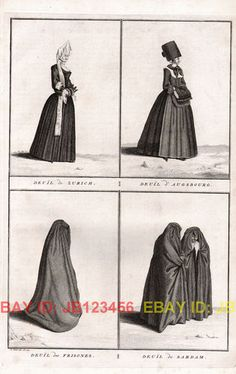 Fashion Funeral Mourning Dresses of Europe Huge Antique 1730s Copper Engraving | eBay