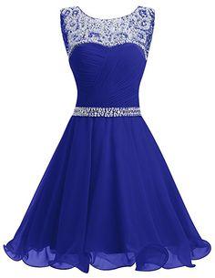 Dresstells® Short Chiffon Open Back Prom Dress With Beading Homecoming Dress RoyalBlue Size 6