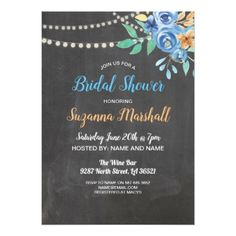 Bridal Shower Invite Blue Flower Bachelorette - bridal shower gifts ideas wedding bride