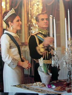 Shah and Farah, the King and Queen of Iran during a candle lighting for the Persian New year Farah Diba, Pahlavi Dynasty, Qajar Dynasty, Adele, The Shah Of Iran, Leila, Royal House, King Of Kings, Royal Weddings