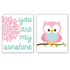 Owl Print Your Are My Sunshine Owl Nursery Art Print Set of Two 8x10 Inch Prints. $30.00, via Etsy.