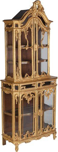 Furniture : French, A Louis XV-Style Glazed Giltwood Vitrine, late 19th century…