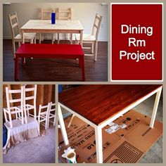 My DIY dining room set renovation! IKEA table and chairs $169. One can of antique white paint by Sherwin Williams and all paint supplies came to $30, red chestnut stain by Minwax $7 at Home Depot, needed only one small can! Bench IKEA was already red $79. Customizing dining room set to our tastes, priceless! -Lesley Ann❤️