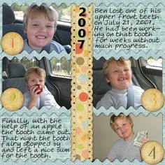 Lost a Tooth - Visit from the Tooth Fairy - Scrapbook layout